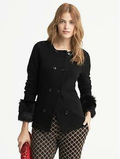 Faux-Fur Cuff Cardigan - Banana Republic  Seriously??? ANY outfit that makes a skinny model look this hip heavy is certain to be a DISASTER on the general female public!!