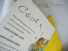 Cordially Creative vintage ivory wildflower watercolor #wedding #invitation with buttercups, clover, daffodil, wild violet and dandy lions