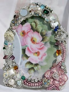 Bejeweled Picture Frame Embellished Repurposed Vintage Jewelry Shabby Cottage Chic Roses 5x7❤❤❤