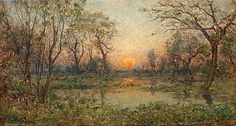Artwork by Per Ekström, French landscape with setting sun, Made of Canvas