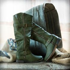 Military Green Buckle Boots