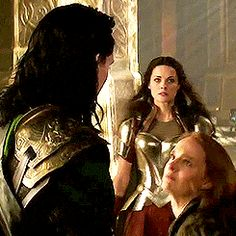 (gif) Please note: Sif in the background. Her face is priceless. Apparently, one does not simply punch Loki. Unless you are Jane Foster.>> Sif: I might like her!««« lol loved