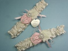 Ivory Wedding Garter Set in Satin with Pink Roses and Personalized Engraving