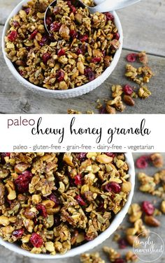 Start your day off with this delicious Paleo Granola with Honey | paleo, gluten-free, grain-free, vegetarian | http://simplynourishedrecipes.com/paleo-granola/