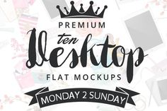 10 Desktop FLAT Mockups by Amy J. Coe on @creativemarket