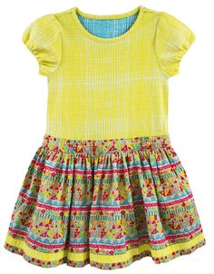 Oilily DOTTIE DRESS YELLOW CHECK AND MOSAIC