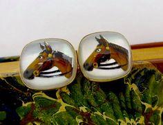 Vintage ESSEX GLASS CUFFLINKS Swank Fox by DaffodilsVintage