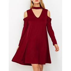 16.28$  Buy here - http://dio3r.justgood.pw/go.php?t=206845904 - Cold Shoulder Choker Swing Dress 16.28$