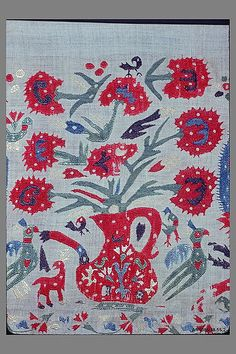 Border century Greek, Ionian Islands or Epirus Silk on cotton (So, I think it might be embroidery. Ribbon Embroidery, Embroidery Art, Cross Stitch Embroidery, Contemporary Decorative Art, Embroidery Patterns Free, Naive Art, Textiles, Traditional Art, Textile Art