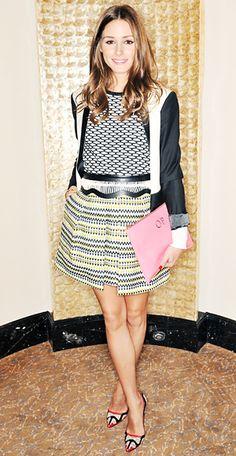London Fashion Week: Olivia Palermo in Tibi sweater, Milly skirt, Tibi blazer, manola Blahnik heels