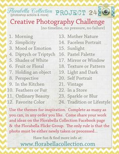 {{My personal challenge for the upcoming weeks.}} Florabella Collection (Photoshop Actions & more) is hosting Project a creative photography challenge. No timeline, no pressure, no failure. More info at www. Photography Challenge, Photography Lessons, Photography Projects, Photography Business, Photography Tutorials, Photography Photos, Creative Photography, Inspiring Photography, Beauty Photography
