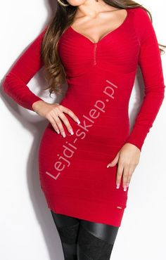 Czerwona bandażowa sukienka / tunika  z dzianiny, rozcięcia na plecach| czerwone sukienki dzianinowe