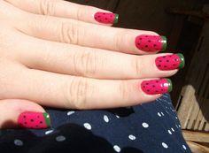 watermelon nails. Cute summer nails