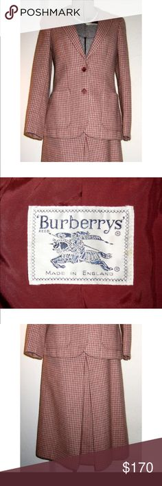 """BURBERRY Houndstooth Suit Wool Mohair Cashmere XS BURBERRY Classic Houndstooth Skirt Suit Wool Mohair Cashmere.  Burberry as a luxury brand is committed to the creation of authentic and distinctive products and continuous innovation in design and manufacturing.  This vintage BURBERRY classic houndstooth skirted suit is sized small. it is a luxurious blend of wool, mohair and cashmere in a burgundy and cream houndstooth.  Flat measurements (please double):  Jacket Bust: 17"""" Jacket Waist: 15""""…"""