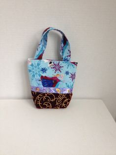 Elsa Anna and Olaf Frozen themed fabric purse by pinklilypadbags