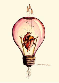 """""""Por que quando a gente tem alguma ideia, quem bate mais forte é o coração."""" by Carol Burgo"""