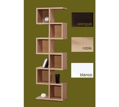 Estantería de seis cubos ideal para su salón. Colores, blanco, wengué y roble.