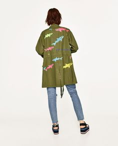 PARKA WITH EMBROIDERED SHARKS MAUI AND SONS ®-OUTERWEAR-WOMAN-SALE | ZARA United Kingdom