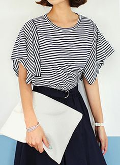 striped top with flutter short sleeves