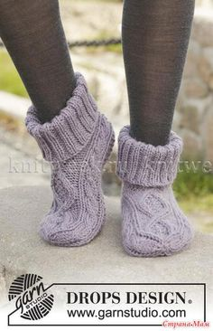 Celtic Dancer - Knitted DROPS slippers with cables in Nepal. Size 35 - - Free pattern by DROPS DesignRavelry: Celtic Dancer pattern by DROPS design Uses Aran weight yarn stitches and 22 rowsItems similar to Hand Knitted slippers / socks with cables i Knit Slippers Free Pattern, Baby Shoes Pattern, Shoe Pattern, Knitted Slippers, Slipper Socks, Knitting Patterns Free, Free Knitting, Baby Knitting, Crochet Patterns