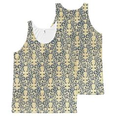Vintage Floral Cream Blue Flowers All-Over Print Tank Top Tank Tops