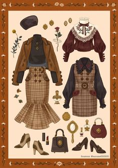 Remarkable retro fashion tips on our site gallery right here Vintage Fashion Sketches, Fashion Design Drawings, Retro Mode, Mode Vintage, Anime Outfits, Cute Outfits, Kleidung Design, Fashion Art, Fashion Outfits