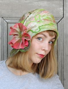 Unique felted cloche hat, retro style green hat with pink flower and green leaves. OOAK
