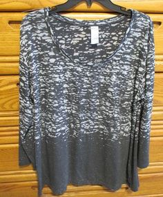 For sale in our eBay store...click photo for full details!  Avenue Chic Tunic Womens Plus Size 18/20 Black Gray Burnout Top Tee Blouse Thin #Avenue #Tunic #fashion #plussize #top #tunic