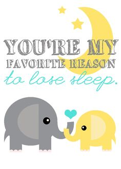 My Favorite Reason to Lose Sleep 5x7 elephant nursery art print (you choose colors, customize animals). $10.00, via Etsy.