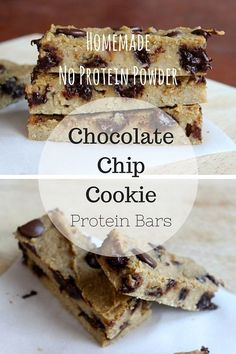 Homemade healthy protein bars that taste like chocolate chip cookies and made with NO protein powder. They're vegetarian, gluten free, and made with healthy ingredients. | Via livelytable.com @livelytable