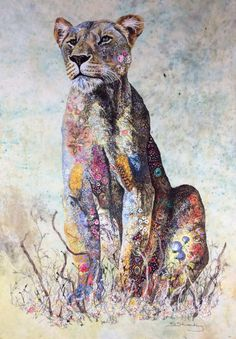 Sophie Standing's Textile Art Sophie Standing is a British-born artist who has lived in Africa for 15 years. She produces her art by combining applique and free motion embroidery. The details of the animals are created by sewing with different. Thread Art, Thread Painting, Frida Art, Lion Art, Animal Quilts, Arte Pop, African Animals, Textile Artists, Illustrations