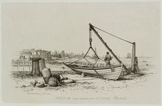 """Skiff, West India Docks, Blackwall, London, 1829"" engraving by E.W. Cooke"