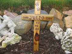 Wooden Cross  Dog or Cat Pet Memorial Burial by GrabTheBrassRing