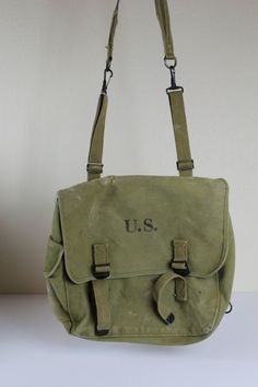 Vintage 1942 WWII US Army Military Field Bag by CrimsonHollow Tent Awning 4668e3552c90b