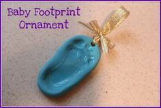 Baby Footprint Keepsake  Sculpey polymer clay: work it in your hands to warm and soften, flatten into an oval, push baby/child's foot into clay to make an impression, punch a hole at the top with a straw, bake per package directions.