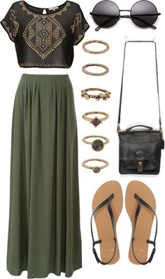 graphic tee, maxi skirt, and sandals... ah i can feel summer in the air  #BOHO                                                                                                                                                      More