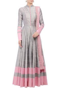 Grey embellished anarkali set by Manish Malhotra - Shop at Aza
