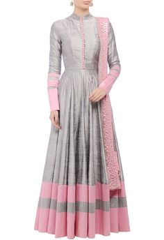 Grey embellished anarkali set by Manish Malhotra - Shop at Aza