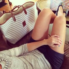 Sweet Southern Prep - loving the grey and navy outfit. Striped @Barrington Gifts tote and Tory Burch flats (Carolines)