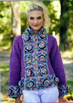 Chaqueta-Abrigo Crochet Fantasia Patron - Patrones Crochet jacket free pattern