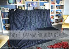 Easy DIY Christmas photo backdrop - it may look like a mess now, but the photos are gorgeous! christmas pictures Tips for taking Christmas photos of your toddler - Lovely Etc. Toddler Christmas Pictures, Christmas Photo Props, Christmas Card Pictures, Xmas Photos, Family Christmas Pictures, Christmas Backdrops, Diy Christmas Cards, Family Photos, Christmas Christmas