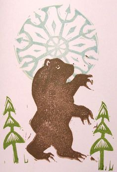 Brown Grizzly Bear Forest Hand Printed Winter Holiday by craftyhag, $4.50