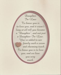 DAUGHTER IN LAW Family WARM CHARMING TOUCH Love You Much Verses Poems Plaques