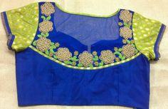 Pattu blouse with pearls aplic work on net with banaras hands 91 9866583602 whatsapp no 7702919644