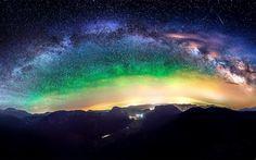 Milky Way galaxy on night sky Free HD Wallpaper
