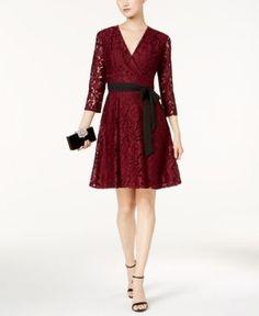 Ellen Tracy Lace Faux-Wrap Dress - Black 16