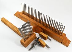 Handcrafted 2-pitch wool comb and blending hackle set. $118.00, via Etsy.