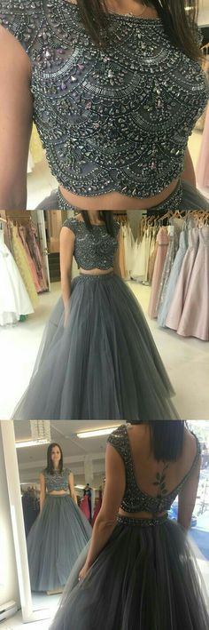 Ball gown two piece prom dresses beaded grey long prom dresses 2018 prom dresses party dresses sweet 16 dresses Prom Dresses 2018, Prom Dresses With Sleeves, Backless Prom Dresses, Prom Party Dresses, Evening Dresses, Formal Dresses, Dress Prom, Beaded Dresses, Dress Long