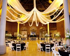 We have great tables, chairs and linens that will fit perfectly in any setting, everywhere from a ballroom to a backyard. Our white resin chairs go well with black table linens.