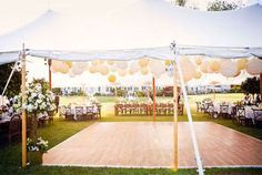 Love the idea and look... tables om the outside and dance floor under the tent with lighting